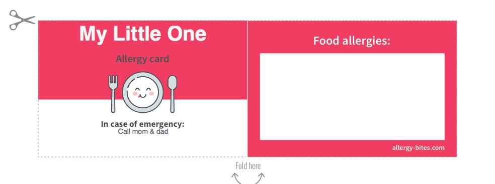 Food Allergy Card - Free Gift from AllergyBites